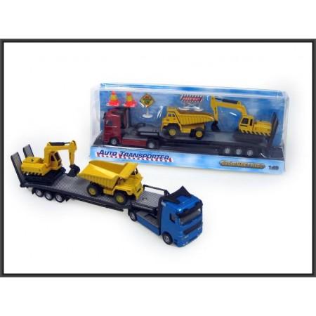 Autotransporter z dwoma pojazdami budowlanymi metal