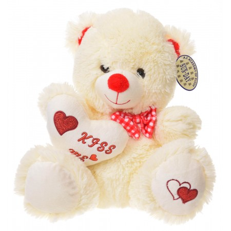 Miś z sercem Walentynka Kiss Me kokardka