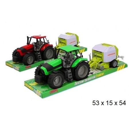 Traktor plastikowy z maszyną rolniczą
