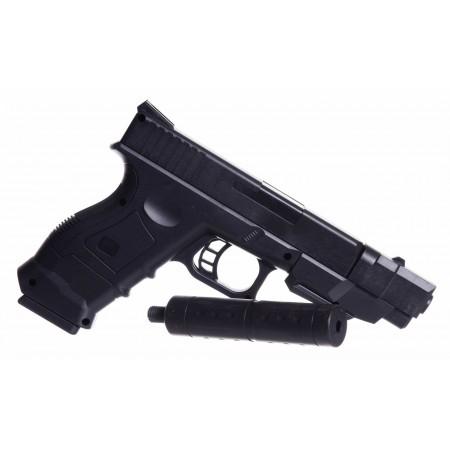 Imitacja broni - czarny pistolet z tłumikiem