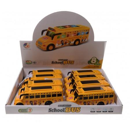 Autobus szkolny gra i świeci.