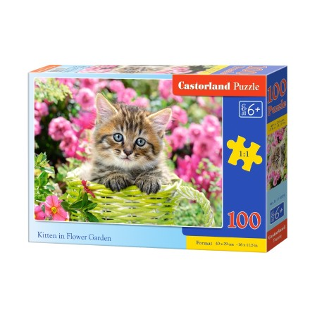 Puzzle 100 el. Kitten in Flower Garden - Kotek na tle kwiatów