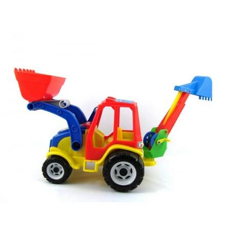 Traktor spychacz z koparką plastik