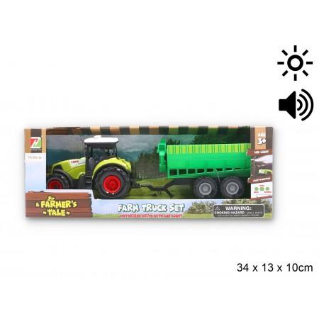 Trakto z maszyną rolniczą światło dźwięk