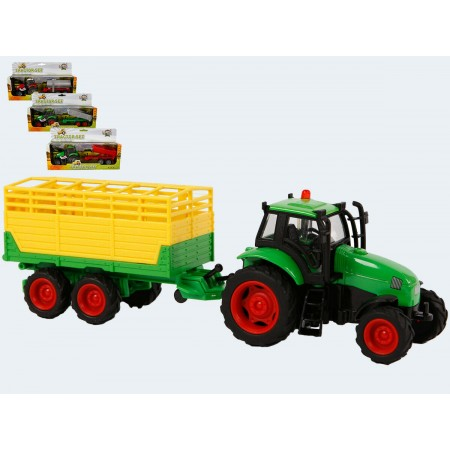 Metalowy traktor z przyczepą